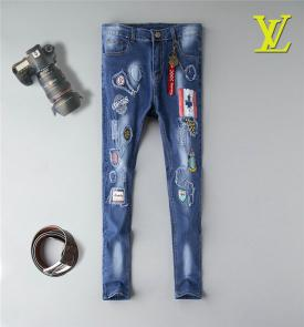 pantaloni louis vuitton uomo jeans patch denim ripped jeans 4786